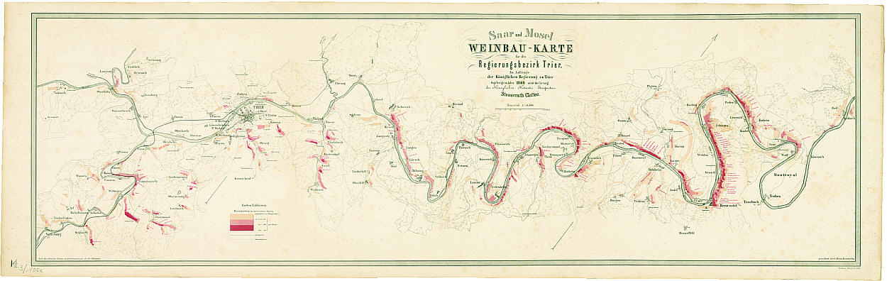 Clotten S 1868 Viticultural Map Of The Saar And Mosel Lars